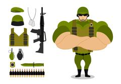 Soldiers and weapons. Set of military ammunition for war. Army collection. Ar - stock illustration