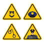 Warning sign police attention. Dangers yellow sign detention. Police badge an Stock Illustration