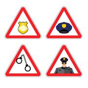 Warning sign police attention. Dangers yellow sign detention. Police badge an - stock illustration