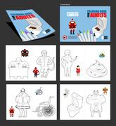 Crazy Coloring book for adults. illustrations for coloring in linear style. P Stock Illustration