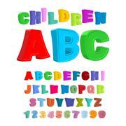 Children ABC. Large letters in kids style. babies Alphabet. 3D Font Piirros