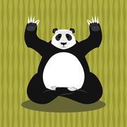 Panda meditating. Chinese bear on background of bamboo. Status of nirvana and Stock Illustration
