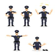 Police set of motion. Cop set different poses. Constable man expression of em - stock illustration