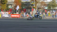Father and son on a motorcycle Stock Footage