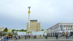 Independence Monument in Ukraine, the figure of the goddess Bereginja-Oranta Stock Footage
