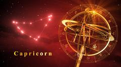 Armillary Sphere And Constellation Capricorn Over Red Background - stock illustration