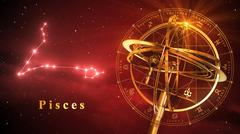 Armillary Sphere And Constellation Pisces Over Red Background Stock Illustration