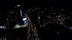 Aerial night streets Bangkok Stock Footage
