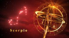 Armillary Sphere And Constellation Scorpio Over Red Background Stock Illustration