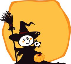 Halloween witch and cat on an yellow background. Stock Illustration