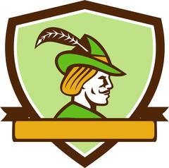 Robin Hood Side Ribbon Crest Retro - stock illustration
