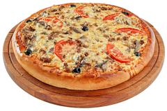 Pizza with minced meat and mushrooms Stock Photos