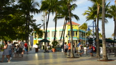 Ft Myers Beach Florida beach at famous pier with shops and colorful stores fo Stock Footage