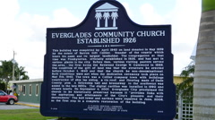 Everglades City Florida sign for Everglades Community Church founded in 1926  Stock Footage