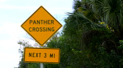 Everglades Florida unique sign of Panther Crossing near Big Cypress National  Stock Footage