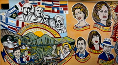 Little Havana in Miami Florida with famous Cuban leaders on wall mural painti Stock Footage