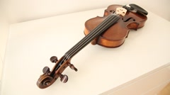 Classical Violin wide pan on white background Stock Footage