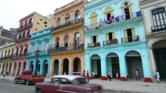 Hava Cuba main street at Capital with old colorful buildings and traffic Haba Stock Footage