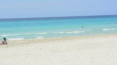 Varadero Beach Cuba the most beautiful blue water relaxing on perfect holiday Stock Footage