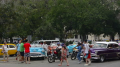 Hava Cuba Haba central colorful old classic 1950's car on display near Capital Stock Footage