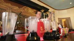 Hava Cuba bartenders mixing drinks at the Floridita bar Hemingways favorite Stock Footage