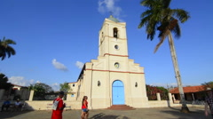 Viles Cuba with Main Square church with beautiful architecture and blue door in Stock Footage