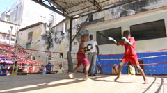 Hava Cuba Haba best boxing gym young boys learning to fight at Rafael Trejo Stock Footage