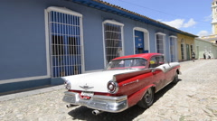 Trinidad Cuba old colonial city in South Cuba with cobblestone street and old Stock Footage