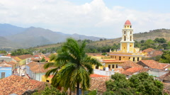 Trinidad Cuba from above tower with church and mountains with buildings of tile Stock Footage