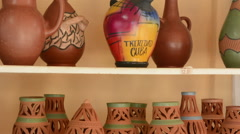 Trinidad Cuba clay pottery business selling vases and artwork Stock Footage