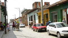 Trinidad Cuba cobblestone street of second oldest city in Cuba as colonial town Stock Footage