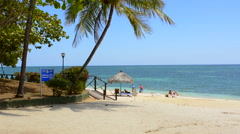Trinidad Cuba beautiful white sandy beach near the Club Amigo Ancon with blue Stock Footage