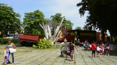 Santa Clara Cuba small hoistoric Armored Train museum with locals and tourists Stock Footage