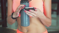 Yong woman taking selfie in the gym - stock footage
