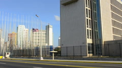 Hava Cuba an important photo of the USA flag flying at the USA Embassy Stock Footage