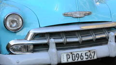 Hava Cuba closeup of classic auto car from the 1950's colorful special vehicle Stock Footage