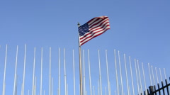 Hava Cuba an important photo of the USA flag flying at the USA Embassy for the Stock Footage