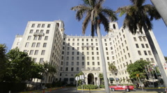 Hava Cuba world famous ciol Hotel front with palm trees  Stock Footage