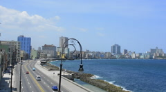 Hava Cuba beautiful road and walking Malecon along water in city from above Stock Footage