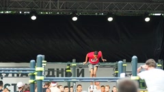 Unidentified athlete performs during the street workout championship at Moscow - stock footage