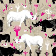 Graphic pattern of rhinoceroses lovers Stock Illustration