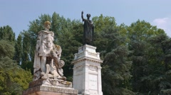 Statue of Virgil and Heroic Poetry in Mantua Stock Footage