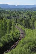 Outlook over railroad track at Doeda Fallet in Sweden Stock Photos