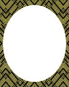 Circle White Frame Background with Decorated Borders - stock illustration
