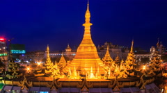 Sule Pagoda Ancient Pagoda Day To Night Time Lapse Of Yangon City, Myanmar Stock Footage