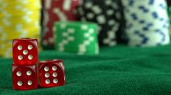 Red Dices in Gambling Table Stock Footage