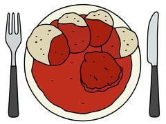 Tomato sauce with dumplings - stock illustration