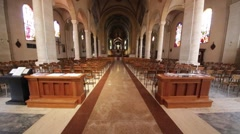 In italy turbigo inside  church religion building the altar chair desk colora Stock Footage