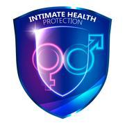 Sexual Health Protection Shield Symbol Stock Illustration