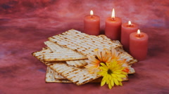 Background with matzo and wine for Jewish Passover celebration Stock Footage